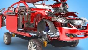 Os detalhes do carro vermelho em um fundo azul 3D rendem ilustração royalty free