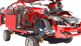 Os detalhes do carro vermelho em um fundo branco 3D não rendem nenhuma sombra ilustração stock