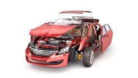 Os detalhes do carro vermelho em um fundo branco 3D rendem ilustração royalty free