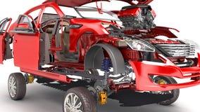 Os detalhes do carro vermelho em um fundo branco 3D rendem ilustração do vetor
