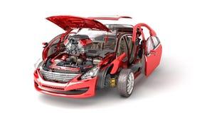 Os detalhes do carro vermelho em um fundo branco 3D rendem ilustração stock