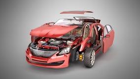 Os detalhes do carro vermelho em um fundo cinzento 3D do inclinação rendem ilustração stock