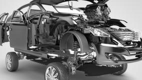 Os detalhes do carro vermelho em um fundo cinzento 3D rendem ilustração stock