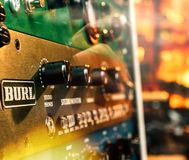 Os detalhes macro do close-up de Burl Studio controlam o monitor audio Fotografia de Stock Royalty Free