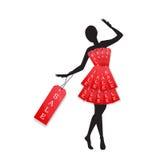 Os detalhes varejos anunciam a VENDA com formulário do vestido no manequim ilustração royalty free