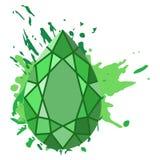 Os diamantes verdes bonitos dão forma no fundo verde da aquarela Imagem de Stock Royalty Free