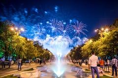 Os dias do aniversário de Bucareste, fogos-de-artifício party e celebração foto de stock royalty free