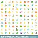 100 os dinheiros e ícones da riqueza ajustaram-se, estilo dos desenhos animados Imagem de Stock