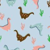 Os dinossauros amigáveis, cactos nos desenhos animados denominam o teste padrão sem emenda ilustração royalty free