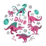 Os dinossauros bonitos entregam a ilustração tirada do vetor da cor na forma redonda Textura do círculo dos desenhos animados dos ilustração royalty free