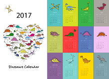 Os dinossauros calendar o projeto 2017 Foto de Stock