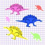 Os dinossauros coloridos isolaram-se fotografia de stock royalty free