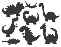 Os dinossauros dos desenhos animados vector do réptil pré-histórico animal do caráter de Dino da silhueta do monstro da ilustraçã ilustração royalty free