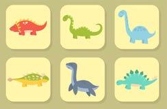 Os dinossauros dos desenhos animados vector do réptil pré-histórico animal do caráter de Dino do monstro da ilustração o dragão j Fotos de Stock Royalty Free