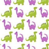 Os dinossauros dos desenhos animados vector a fantasia pré-histórica animal do predador do réptil do fundo do caráter de Dino do  Fotos de Stock Royalty Free