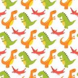 Os dinossauros dos desenhos animados vector a fantasia pré-histórica animal do predador do réptil do fundo do caráter de Dino do  Foto de Stock