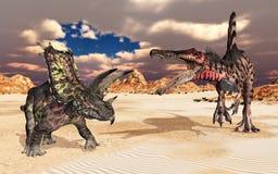 Os dinossauros Pentaceratops e Spinosaurus em uma paisagem fotografia de stock royalty free
