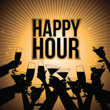 Os direitos do fundo da cerveja do happy hour livram a ilustração Imagens de Stock Royalty Free