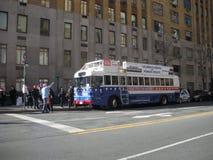 Os direitos do ` s das mulheres são os direitos humanos, ônibus para o progresso, ` s março das mulheres, NYC, NY, EUA Imagem de Stock Royalty Free