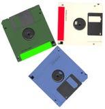 Os discos flexíveis do computador de dados do vintage empilham, plástico Imagens de Stock Royalty Free