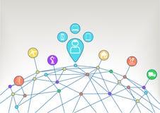 Os dispositivos conectados do consumidor gostam do caderno, tabuleta, telefone esperto, relógio esperto com Internet industrial d Imagens de Stock Royalty Free
