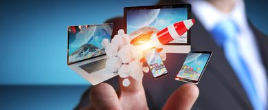 Os dispositivos de conexão da tecnologia do homem de negócios e o foguete startup 3D rendem Fotos de Stock Royalty Free