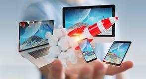 Os dispositivos de conexão da tecnologia do homem de negócios e o foguete startup 3D rendem Imagens de Stock Royalty Free