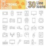 Os dispositivos eletrónicos diluem a linha grupo do ícone, sinais dos meios ilustração do vetor