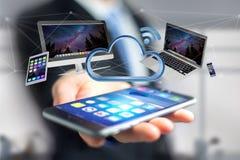 Os dispositivos gostam do smartphone, da tabuleta ou do computador voando sobre o connecte Foto de Stock Royalty Free
