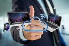 Os dispositivos gostam do smartphone, da tabuleta ou do computador voando sobre o connecte Fotografia de Stock
