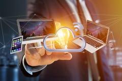 Os dispositivos gostam do smartphone, da tabuleta ou do computador voando sobre o connecte Imagem de Stock Royalty Free