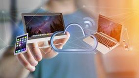 Os dispositivos gostam do smartphone, da tabuleta ou do computador voando sobre o connecte Foto de Stock