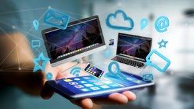 Os dispositivos gostam do smartphone, da tabuleta ou do computador voando sobre o connecti Fotos de Stock Royalty Free