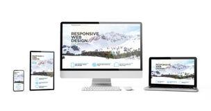 os dispositivos responsivos isolaram a montanha responsiva do homepage do projeto ilustração stock