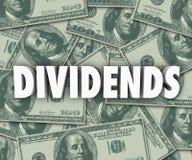 Os dividendos que ganham o dinheiro lucram os investimentos conservados em estoque Imagem de Stock