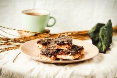 Os doces caseiros crus rir debochadamente, sobremesas saudáveis do vegetariano, tom fotos de stock