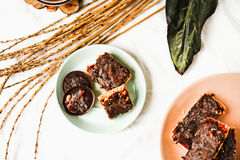 Os doces caseiros crus rir debochadamente, sobremesas saudáveis do vegetariano, vista superior fotos de stock royalty free