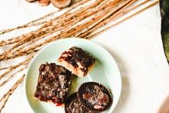 Os doces caseiros crus rir debochadamente, sobremesas saudáveis do vegetariano, vista superior foto de stock