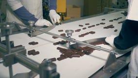 Os doces do chocolate estão sendo classificados por dois operários ao mover-se ao longo da correia de uma vista lateral filme