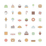 Os doces esboçam o grupo grande colorido do vetor do ícone Projeto simples Fotografia de Stock Royalty Free