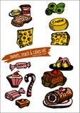 Os doces, os petiscos e o ícone do bolo ajustam-se - entregue ilustrações tiradas ilustração royalty free
