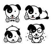 Os Dogies gostam Os cachorrinhos isolados mostram seus polegares acima O cachorrinho engraçado simples mostra um gesto de mão de  Fotos de Stock
