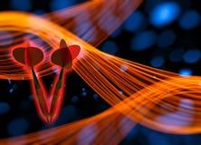 Os dois dardos vermelhos que voam no espaço através do fundo com luzes do bokeh e formas onduladas do fumo ilustração 3D Imagem de Stock