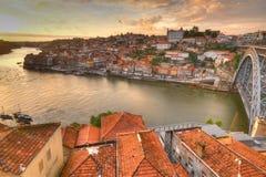 Os DOM Luis e Porto da ponte, Portugal Imagens de Stock Royalty Free