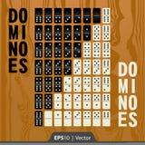 Os dominós ajustaram-se para o projeto de relação do desenvolvimento do jogo em duas cores foto de stock