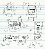Os doodles do monstro ajustaram 2 ilustração do vetor