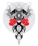 Os dragões e levantaram-se Fotos de Stock Royalty Free