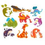 Os dragões maduros e os dragões do bebê ajustaram-se, famílias da ilustração mítico do vetor dos personagens de banda desenhada d ilustração do vetor