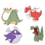 Os dragões ajustaram desenhos animados Foto de Stock Royalty Free