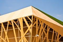 Os edifícios fizeram a madeira do ââof. Imagem de Stock